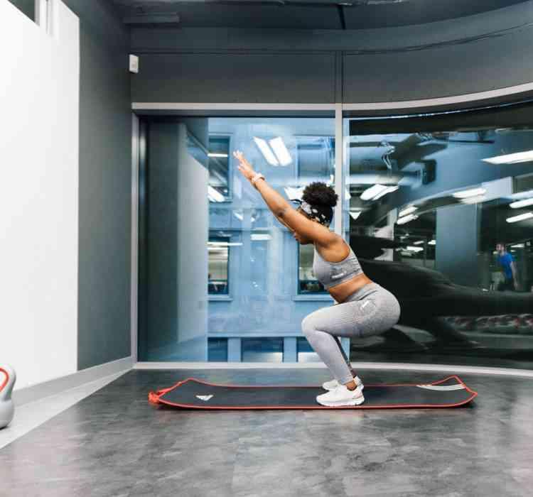 squat with arm raise bottom position