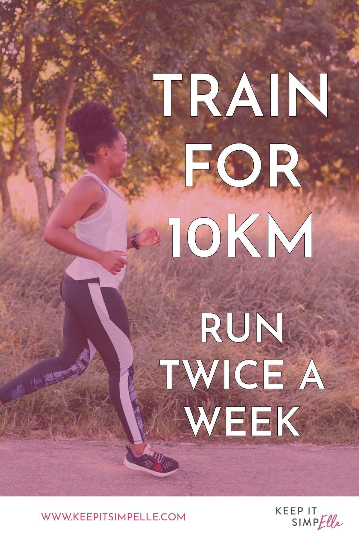 train for 10k run twice a week pinterest image