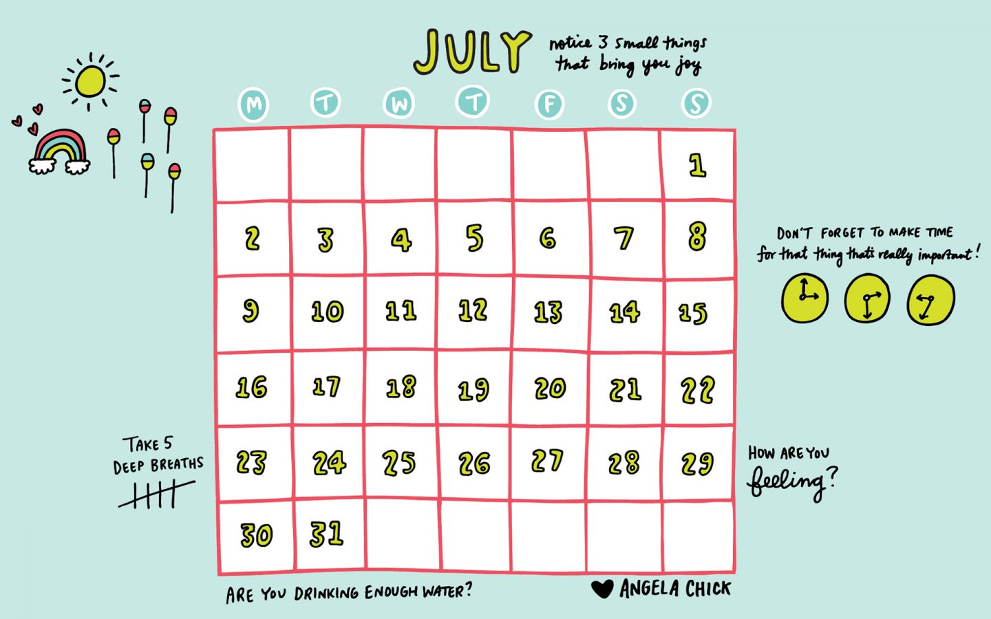 free june 2018 calendar desktop download by Angela Chick