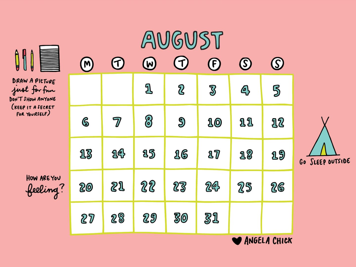 August calendar download by Angela Chick 4-3