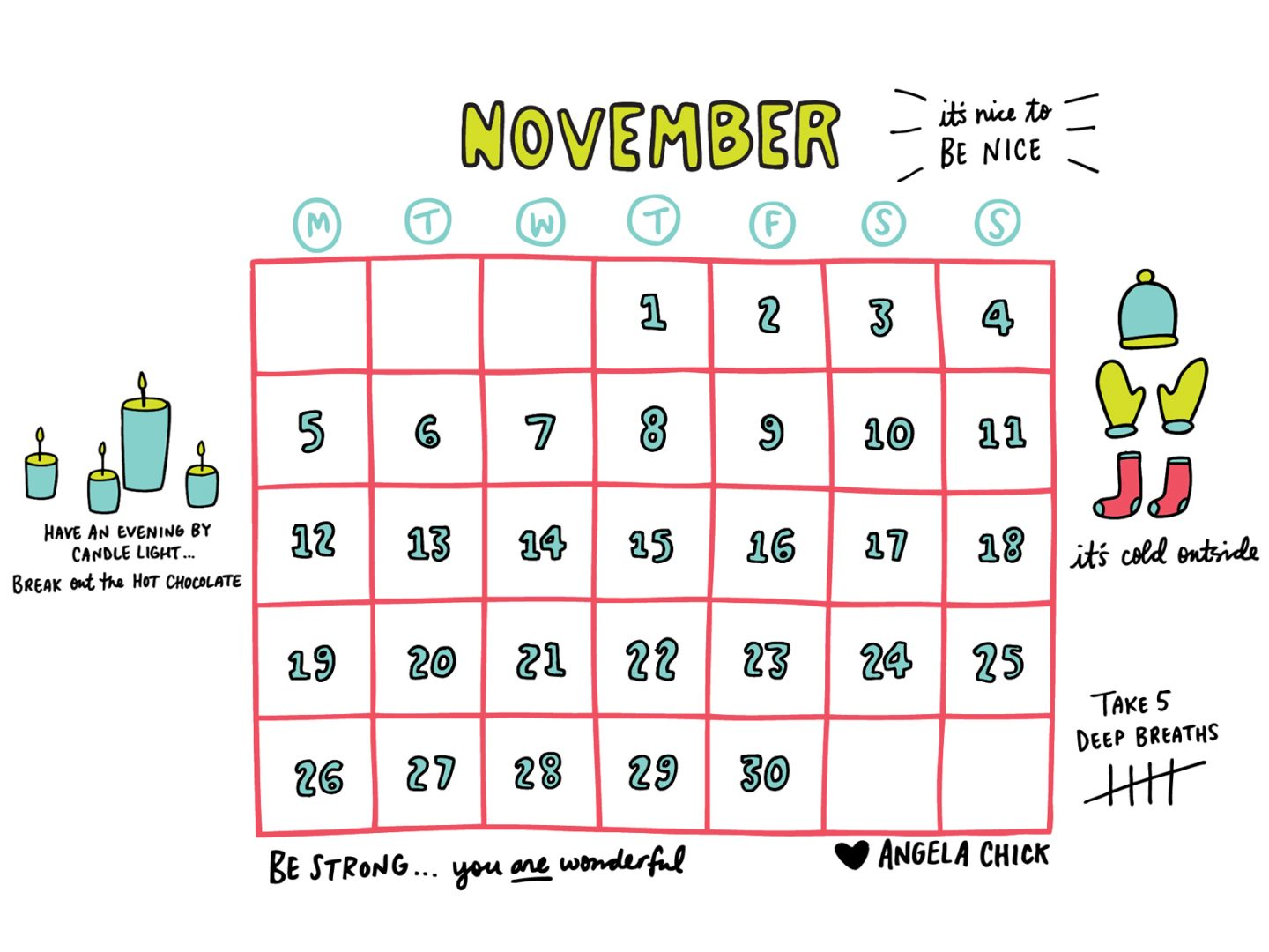 November 2018 calendar download by Angela Chick 4-3