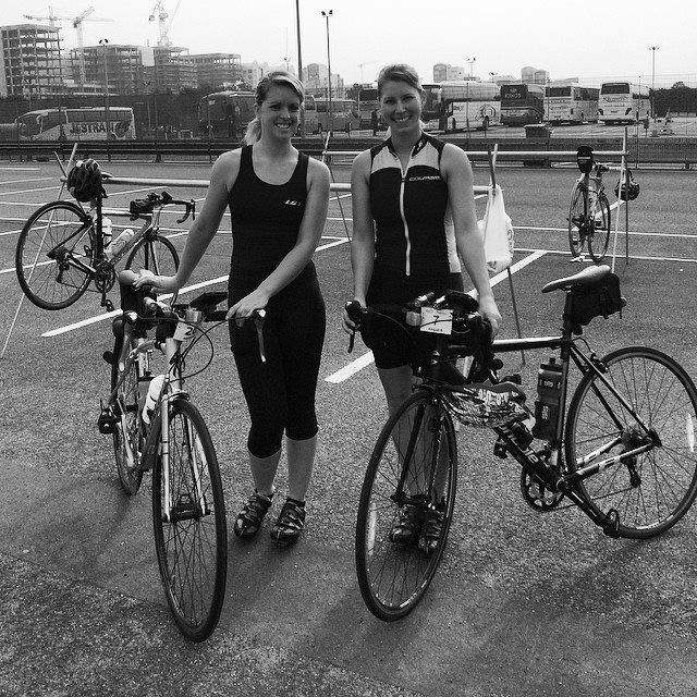 #OneInAMillion Helen, of 1 Vision 2 Girls and Abbie posing on the day they set out to Paris