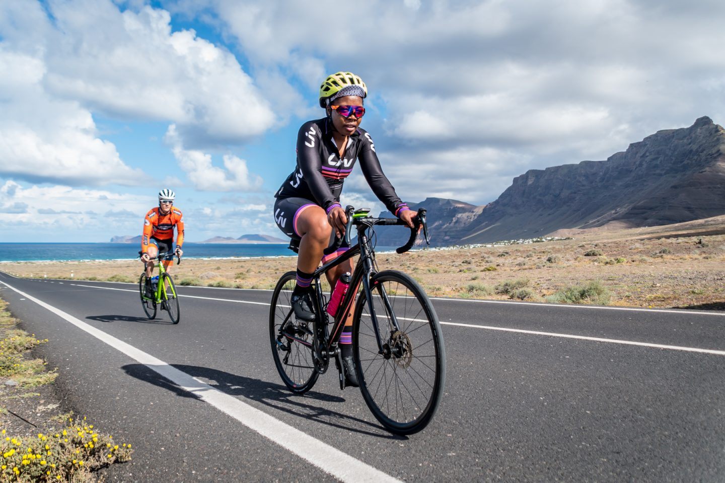 riding in lanzarote in Liv team kit