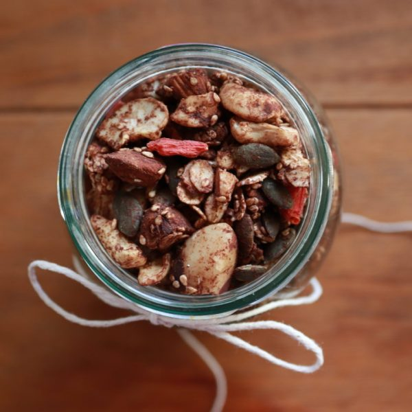 Cinnamon and Cacao Homemade Granola with Goji Berries