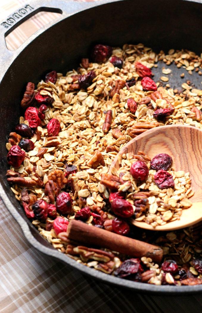 Cranberry Pecan Spiced Skillet Granola