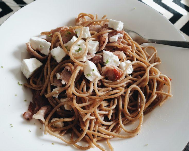 Spaghetti with Bacon, Chilli, Feta and Basil