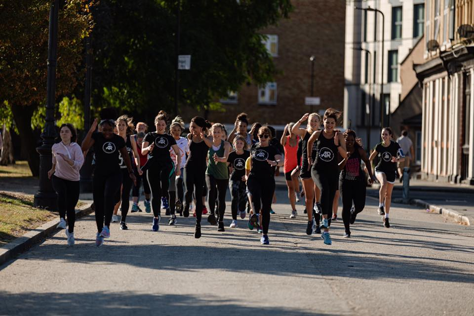 Group shot of adidas runners women's session in east london