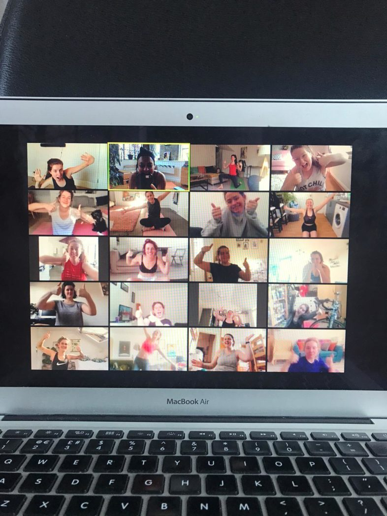 participants of a fitness class on Zoom