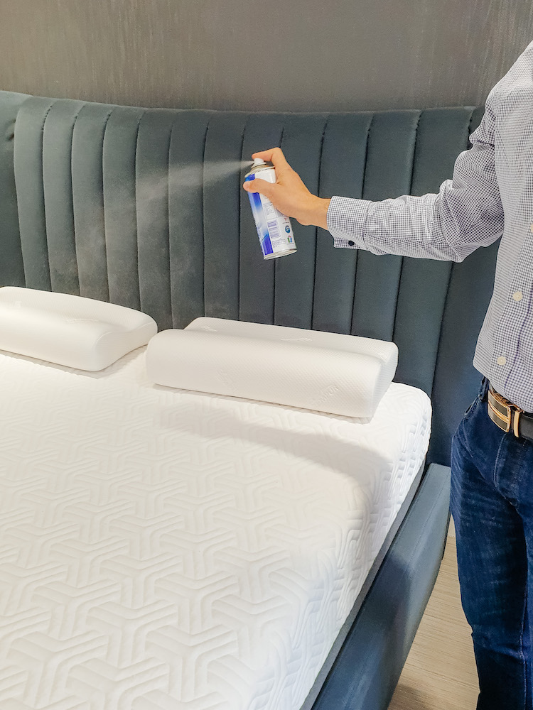 Mattress being sprayed with antibacterial after I tested it