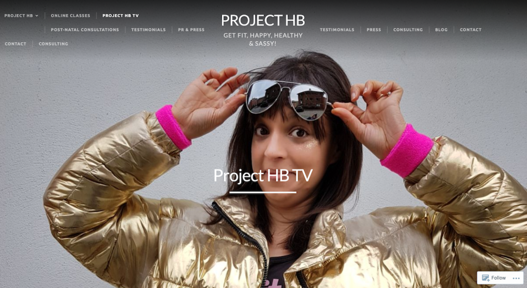 screenshot of Carly's - Project HB TV - website for on demand fitness offering