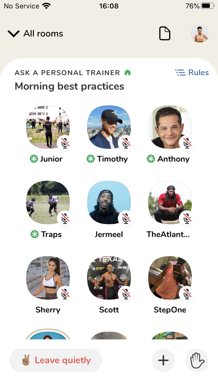 Clubhouse app room example - Ask A Personal Trainer