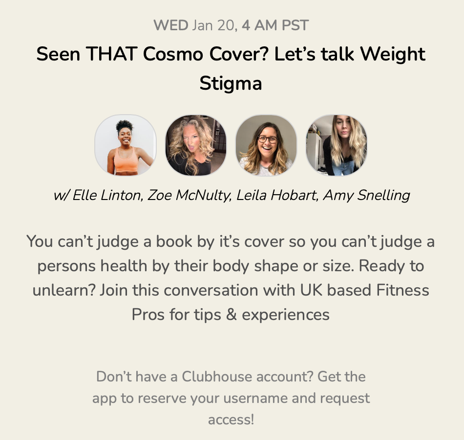 Clubhouse app event screenshot - Let's talk about weight stigma
