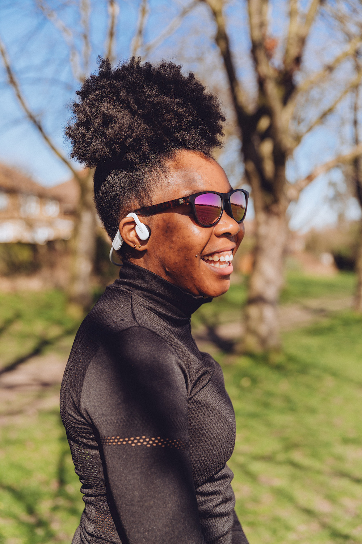 Listening to music while running - wearing Aftershokz  OpenMove headphones