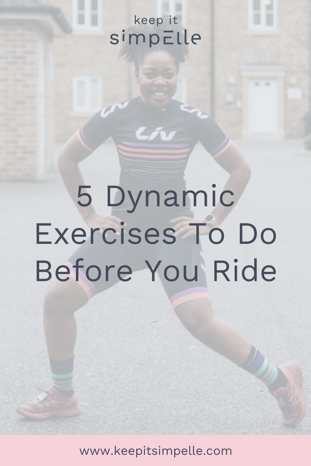 pinterest image for dynamic cycling warm up exercises blog post