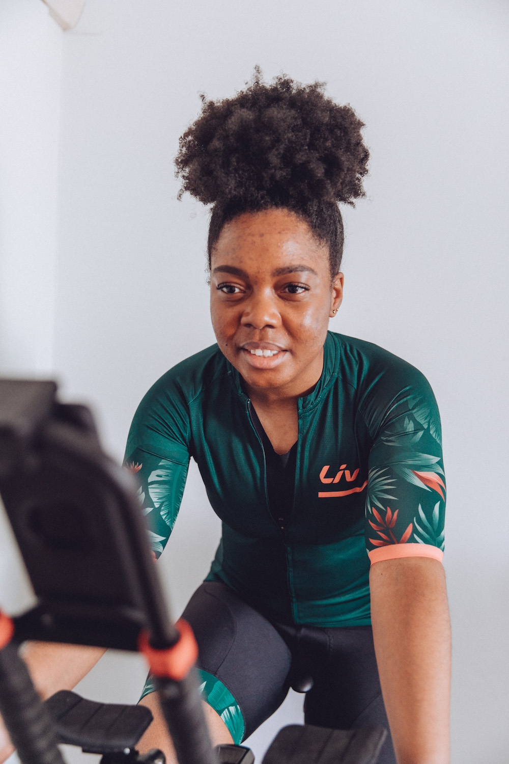 Elle on Wattbike Atom NG training with Wahoo TICKR X heart rate monitor