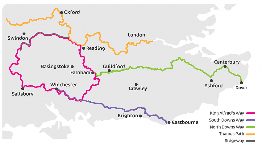 King Alfreds Way Cycle Route map